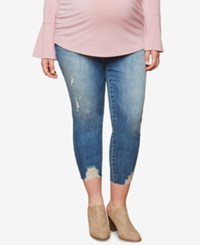 Motherhood Maternity Plus Size Distressed Skinny Jeans Medium Wash