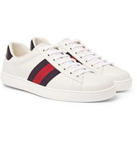 Gucci Ace Watersnake Trimmed Leather Sneakers White