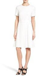 Boss Women's Dalinkana Belted Pleated Fit And Flare Dress Open White