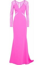 Mikael Aghal Lace Paneled Crepe Gown Bright Pink
