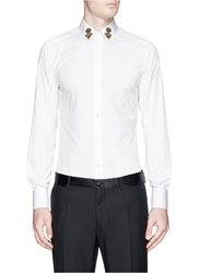 Dolce And Gabbana 'Gold' Crown And Bee Applique Shirt White