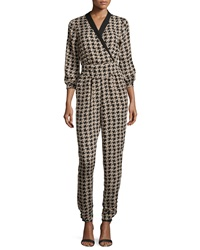 Romeo And Juliet Couture Houndstooth Print Jumpsuit Taupe