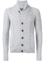 Woolrich Cable Knit Buttoned Cardigan Grey