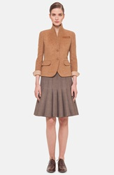 Akris 'Bellini' Leather Trim Double Face Cashmere Jacket Rye