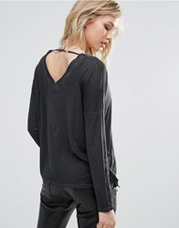 Replay V Neck Top With Tassle Sides Black