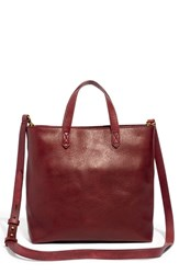 Madewell Small Transport Leather Crossbody Tote Burgundy Dark Cabernet