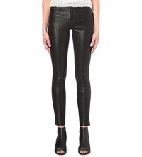 Paige Hoxton Skinny High Rise Leather Jeans Black