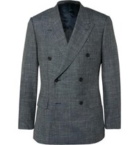 Kingsman Grey Harry Slim Fit Checked Wool Silk And Linen Blend Suit Jacket Blue