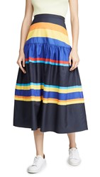 Chinti And Parker Striped Skirt Navy Multi