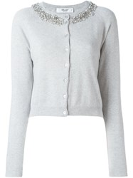 Blugirl Cropped Embellished Cardigan Grey