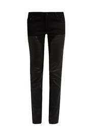 Givenchy Mid Rise Skinny Leg Leather Panelled Jeans Black