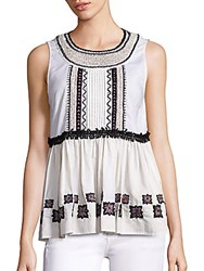 Suno Embroidered Cotton Leaf Sleeveless Top White