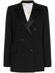 Racil Casablanca Collared Double Breasted Blazer Black