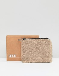Asos Zip Around Wallet In Cream Borg Cream