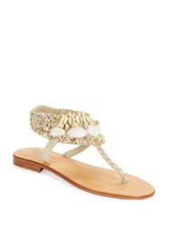 Cocobelle Kauai Leather And Shell Accented Thong Sandals Blue
