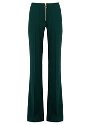 Marques Almeida Mid Rise Flared Wool Crepe Trousers Dark Green