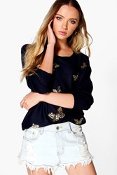 Boohoo Sophie Sequin Butterfly Jumper Blue
