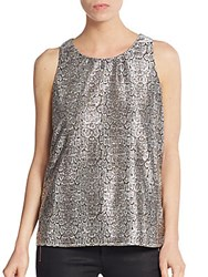 Collective Concepts Metallic Snakeskin Print Keyhole Top Silver