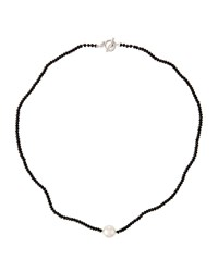 Majorica White Round Pearl And Black Crystal Necklace