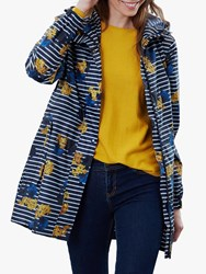 Joules Packaway Waterproof Rain Coat Navy Lilypad Stripe