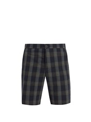 Oliver Spencer Mid Rise Cotton Seersucker Checked Shorts Blue Multi