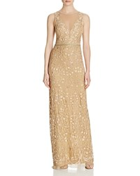 Nicole Miller Embroidered Gown Gold