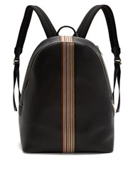 Paul Smith Signature Stripe Leather Backpack Black