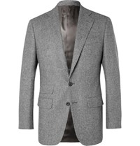 Thom Sweeney Grey Slim Fit Prince Of Wales Checked Wool Suit Jacket Gray