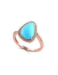 Effy Turquesa Turquoise And Diamond 14K Rose Gold Ring