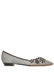 Tabitha Simmons 10Mm Flower Striped Silk Flats Black White