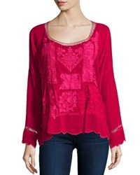 Johnny Was Puzzle Scalloped Georgette Top Pinkberry Fuschia
