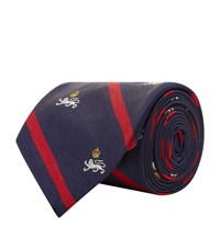 Polo Ralph Lauren Lion Stripe Silk Tie Navy