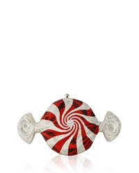 Peppermint Candy Crystal Clutch Bag Judith Leiber Couture Silver Rhine Siam