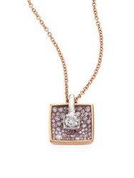 Pleve Opus Diamond And 18K Yellow Gold Cushion Pendant Necklace Gold Pink