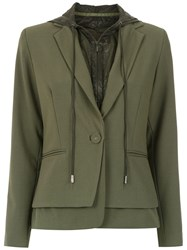 Mara Mac Hooded Layered Blazer Green