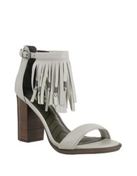 Mia Stacked Heel Leather Sandals Cement Grey