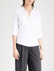 The White Company Rolled Sleeve Cotton Shirt White