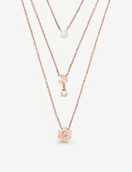 Michael Kors Tripe Layered Rose Gold Toned Necklace
