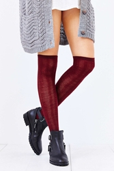 Urban Outfitters Braided Rib Over The Knee Sock Maroon