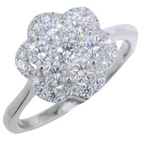 Ewa 18Ct White Gold Diamond Cluster Flower Ring 1.01Ct