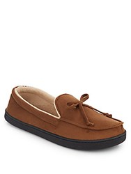 Isotoner Micro Suede Moccasin Slippers Sepia Brown