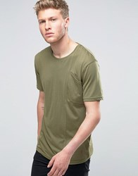 Ringspun Angled Pocket T Shirt In Khaki Green