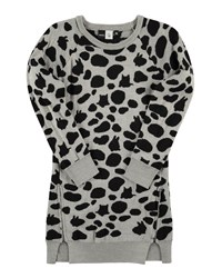 Molo Cilja Knit Animal Print Shift Dress Gray Black