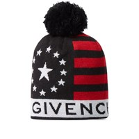 Givenchy Usa Knitted Bobble Hat Black