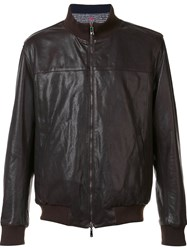 Isaia Reversible Leather Bomber Brown