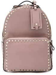 Valentino Garavani Rockstud Backpack Women Leather One Size Pink Purple