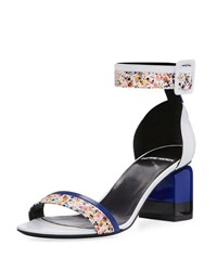 Pierre Hardy Memphis Leather Block Heel Sandal Silver