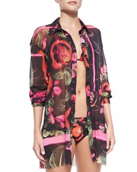 Jean Paul Gaultier Floral Print Sheer Coverup Blouse Black Multi