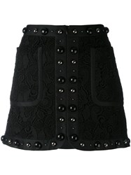 N 21 No21 Textured Stud Mini Skirt Women Silk Polyamide Polyester 42 Black