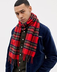 Glen Lossie Tartan Lambswool Scarf Red